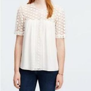 Ann Taylor Lacy Mixed Media Short Sleeve Blouse